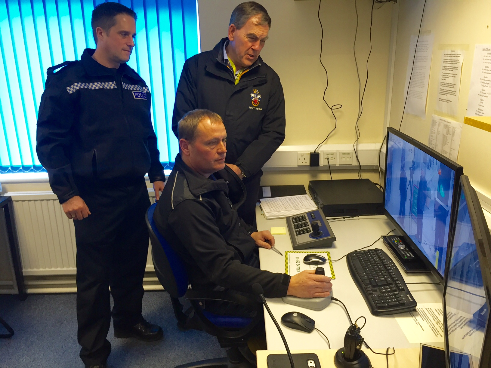 Nigel Marshall, CCTV System Provider, explaining to Tony Hogg how CCTV is used in Bude