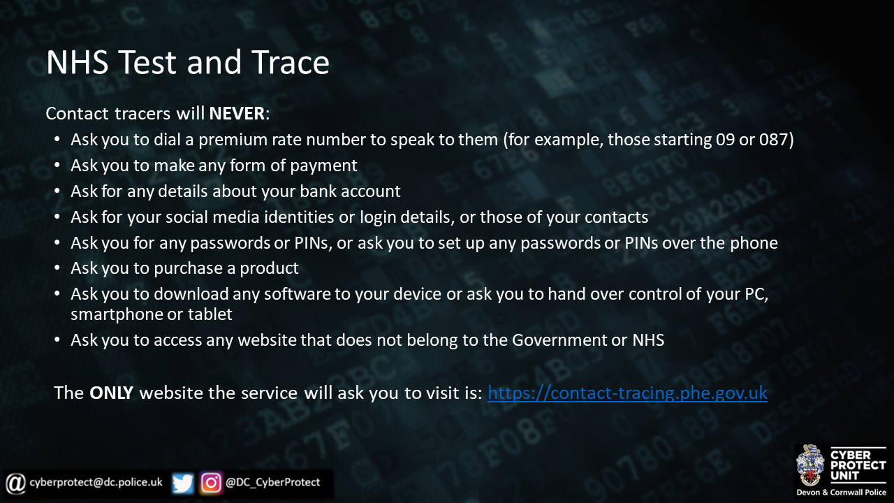 PCC highlights simple steps designed to stop track and trace scammers